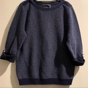 Karen Scott Navy and Silver Sweater